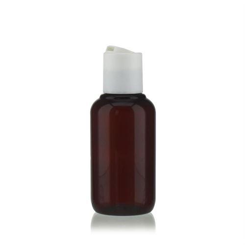"""100 ml brun PET-flaske """"Victor's Best"""", med hvidt DiscTop"""
