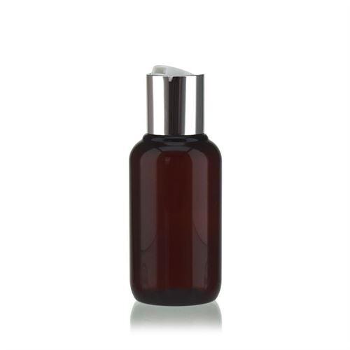 """100 ml brun PET-flaske """"Victor's Best"""", med sølvfarvet DiscTop"""