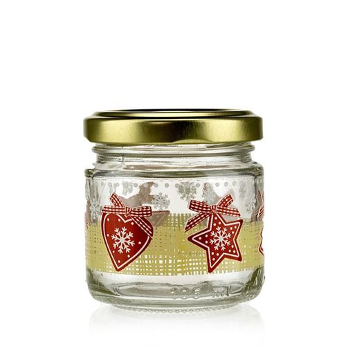 "100ml kerstglas ""LUCKY X-MAS"" met Twist Off"