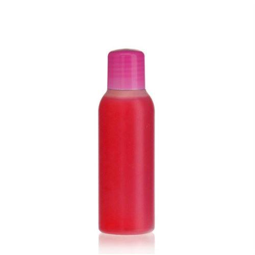 """100ml HDPE-Flasche """"Tuffy"""" natur/pink mit Spritzeinsatz"""