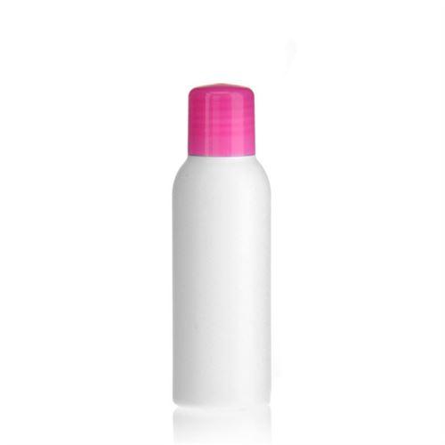 """100ml HDPE-flaske """"Tuffy"""" lyserød med sprøjteindsats"""