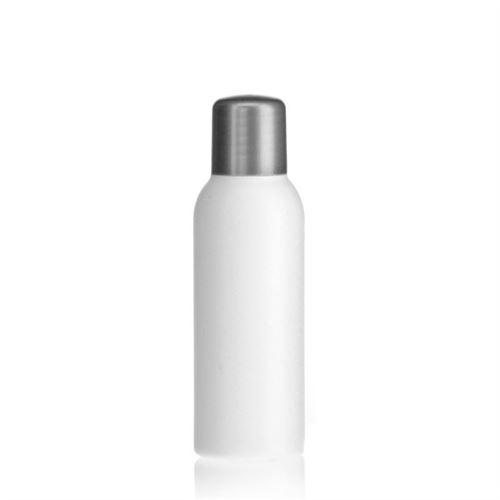 """100ml HDPE-flaske """"Tuffy"""" sølv med sprøjteindsats"""