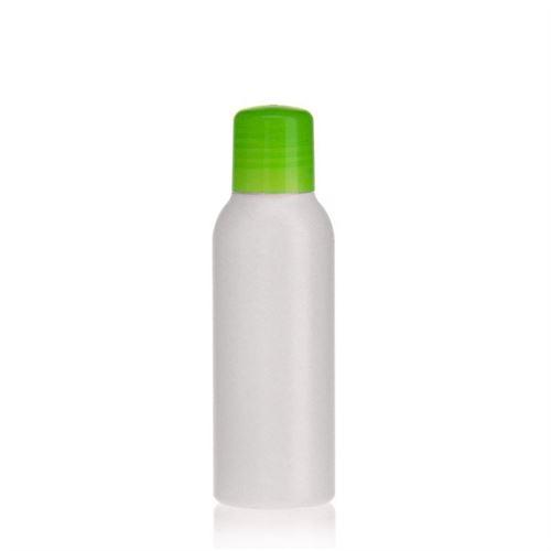 "100ml HDPE-fles ""Tuffy"" natuur/groen met doseerkop"