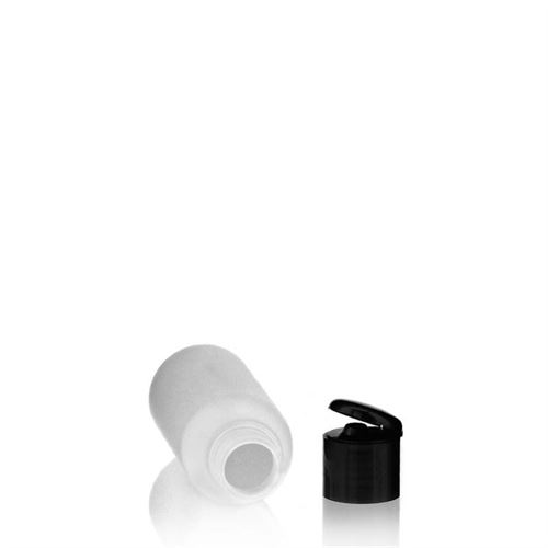 "100ml HDPE bottle ""Tuffy"" with black flip top closure"