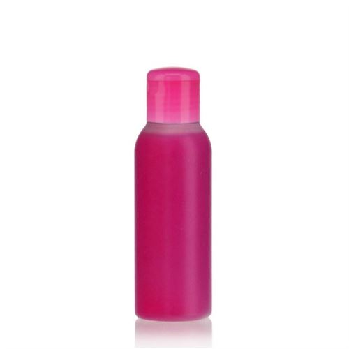 """100ml HDPE bottle """"Tuffy"""" natural/pink with flip top closure"""