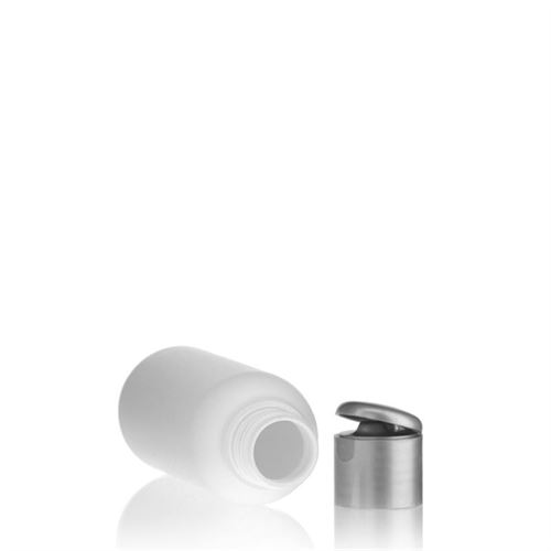 """100ml HDPE bottle """"Tuffy"""" with silver flip top closure"""