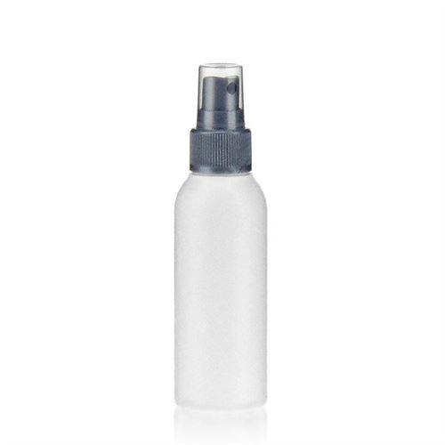 "100ml HDPE bottle ""Tuffy"" silver with nozzle system"