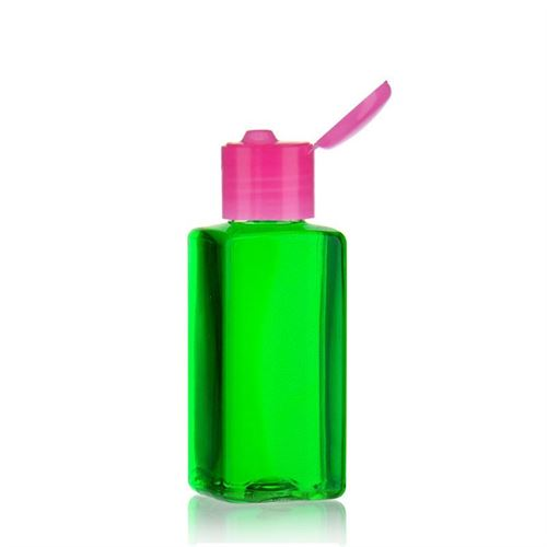 "100ml PET bottle ""Carl"" with pink flip top closure"