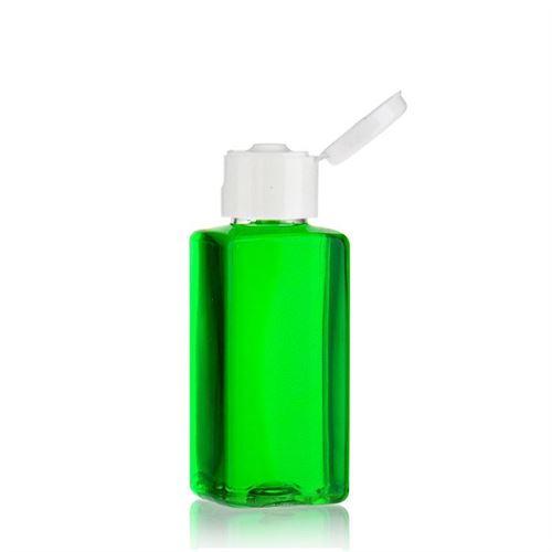 """100ml PET-flaske """"Karl"""" hvid, med klaplåg"""