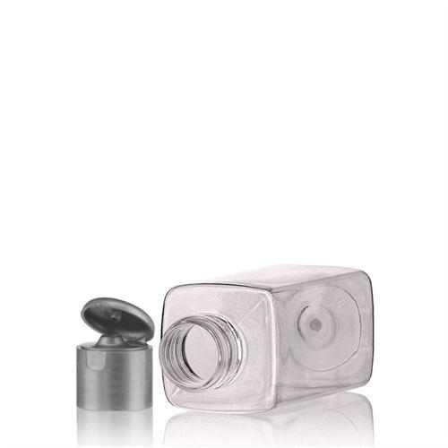 """100ml PET-flaske """"Karl"""" sølv, med klaplåg"""