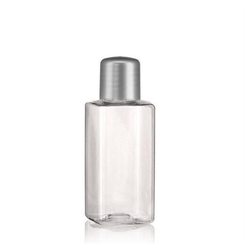 """100ml PET-flaske """"Karl"""" sølv med sprøjteindsats"""