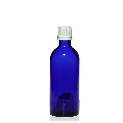 100ml blå medicinflaska, med originalitetsförslutning