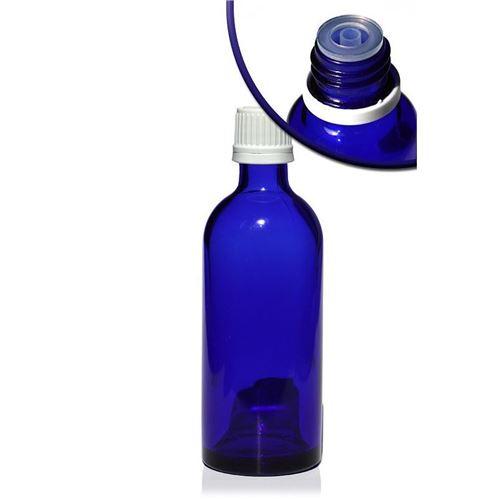 100ml blå medicinflaske, med hvid dråbetæller