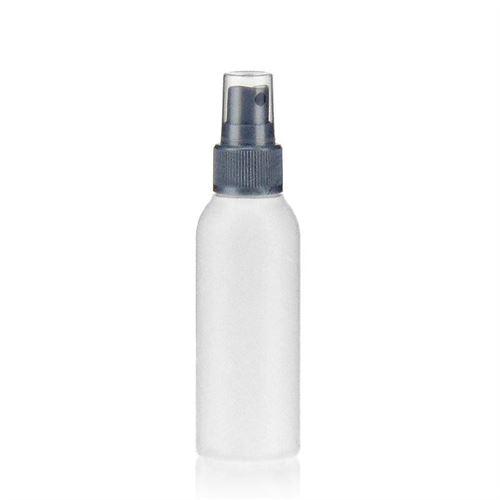 """100ml bottiglia HDPE """"Tuffy"""" con erogatore spray colore argento"""