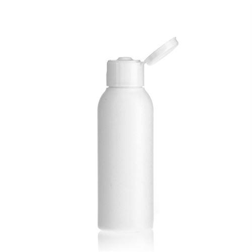 """100ml bottiglia HDPE """"Tuffy"""" bianco con tappo Flip top"""