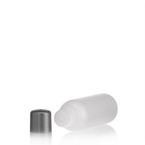 """100ml bottiglia HDPE """"Tuffy"""" natura/argento con chiusura a spruzzo"""