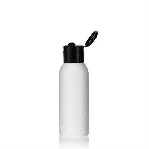 """100ml bottiglia HDPE """"Tuffy"""" nero con tappo Flip top"""