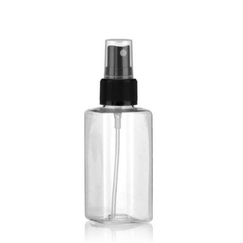 """100ml bottiglia PET """"Carlo"""" nero con erogatore spray"""