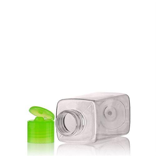 """100ml bottiglia PET """"Carlo"""" verde con tappo Flip top"""