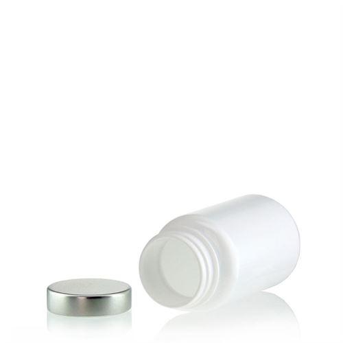 """100ml barattolo PET """"Packer"""" bianco con  capsula in aluminio"""