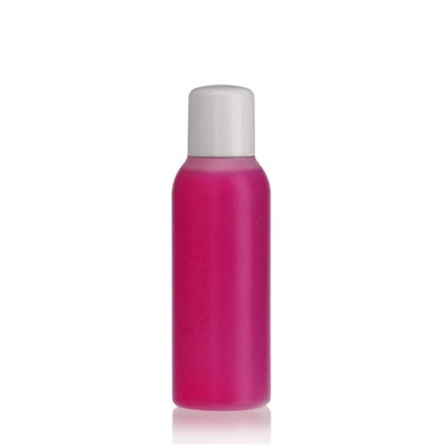 "100ml bouteille HDPE ""Tuffy"" nature/blanc avec doseur"
