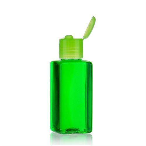 """100ml bouteille PET """"Karl"""" vert avec couvercle à clapet"""