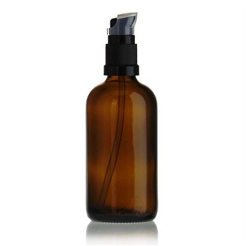 100ml bottiglia per medicina marrone con pompa a lozione nera