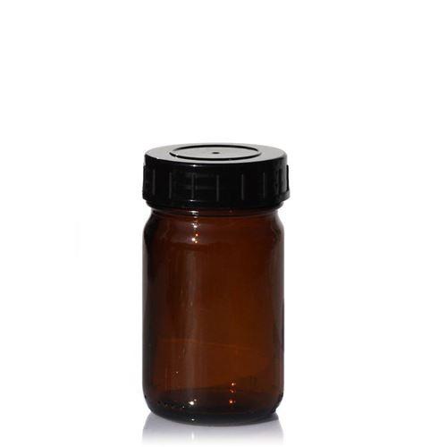 100ml bruine glazen pot met wijde hals