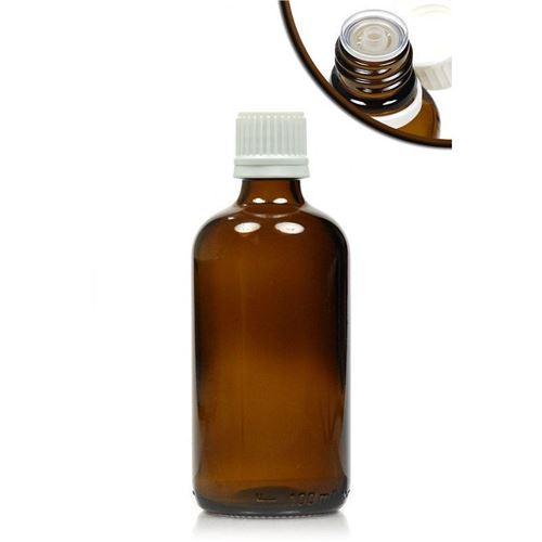 100ml brun medicinflaske, med dråbetæller