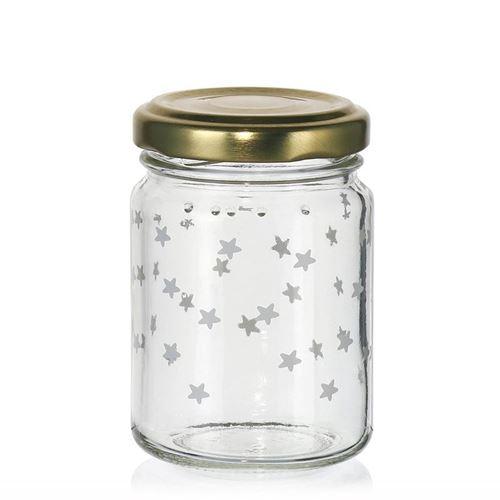 """106ml juleglas """"stjernehimmel"""" hvidt"""