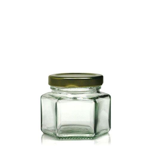 106ml vasetto in vetro esagonale con tappo a vite Twist Off 53