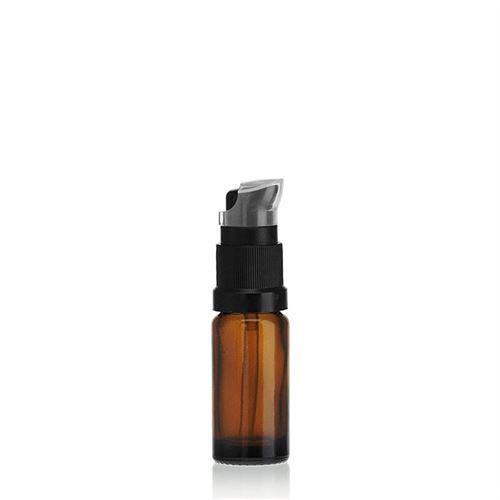 10ml bottiglia per medicina marrone con pompa a lozione nera