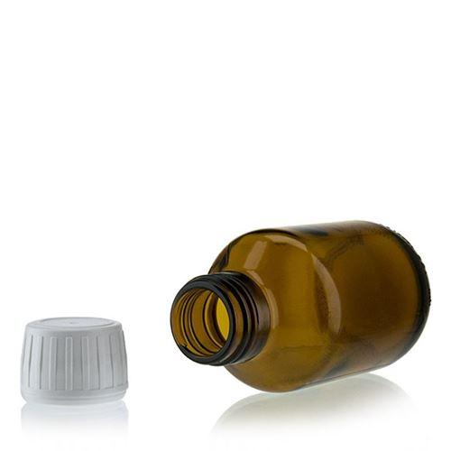 125ml brun medicinflaske med 28mm originality-lock
