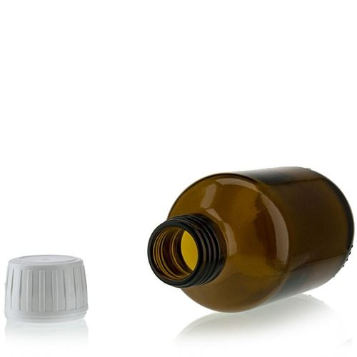 150ml brun medicinflaske med 28mm orginality-lock