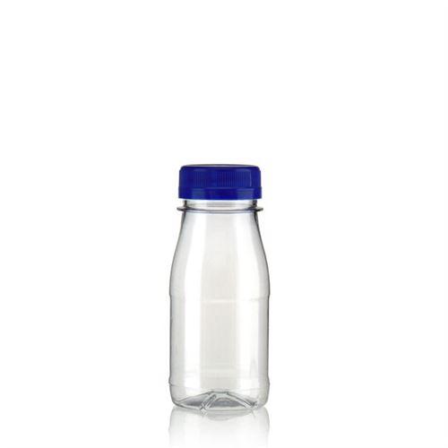 """150ml Botella PET con gollete ancho """"Milk and Juice"""" azul"""