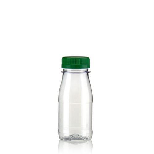 """150ml PET flaske med bred hals """"Milk and Juice"""" grøn"""