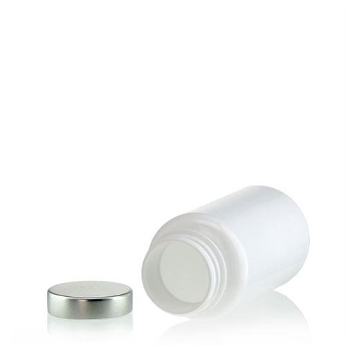 """150ml barattolo PET """"Packer"""" bianco con capsula  in aluminio"""