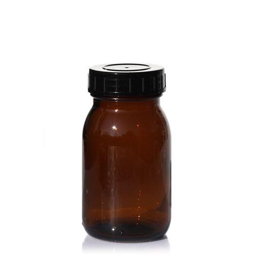 150ml bruine glazen pot met wijde hals
