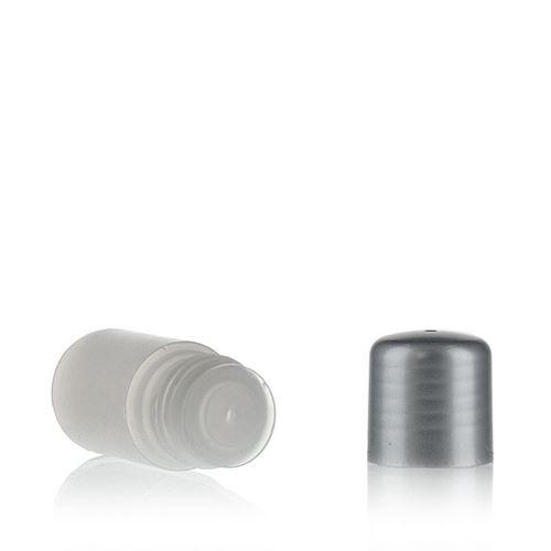 """15ml HDPE-flaske """"Tuffy"""" natur/sølv med sprøjteindsats"""