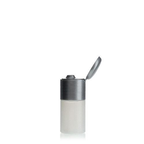 """15ml bouteille HDPE """"Tuffy"""" nature/argente avec couvercle à clapet"""