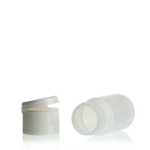 """15ml bouteille HDPE """"Tuffy"""" nature/blanc avec couvercle à clapet"""