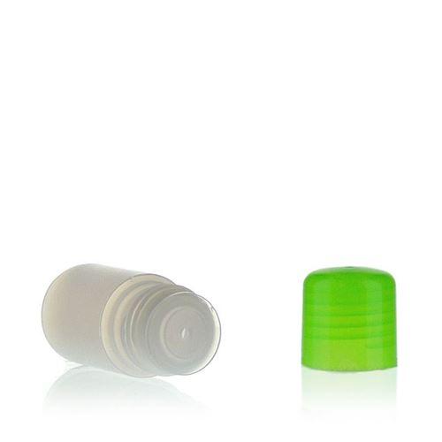 """15ml bouteille HDPE """"Tuffy"""" nature/vert avec doseur"""