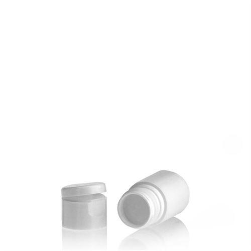 """15ml HDPE-fles """"Tuffy"""" wit met scharnier dop"""