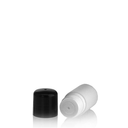 """15ml HDPE-flaske """"Tuffy"""" sort, med sprøjteindsats"""