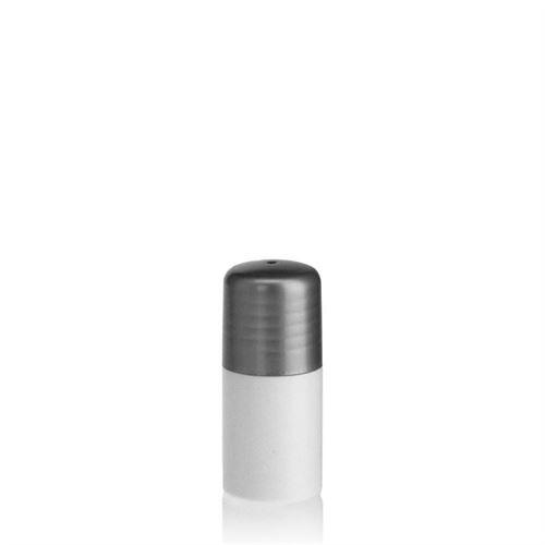"""15ml HDPE-flaske """"Tuffy"""" sølv, med sprøjteindsats"""