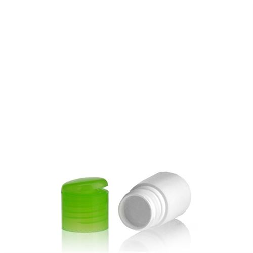 """15ml HDPE bottle """"Tuffy"""" with green flip top closure"""
