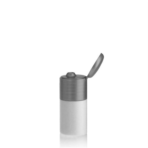 "15ml HDPE bottle ""Tuffy"" with silver flip top closure"