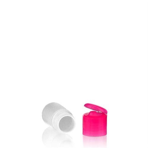 """15ml bouteille HDPE """"Tuffy"""" rose avec couvercle à clapet"""
