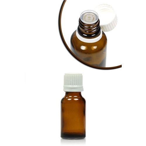 15ml brun medicinflaske, med dråbetæller.