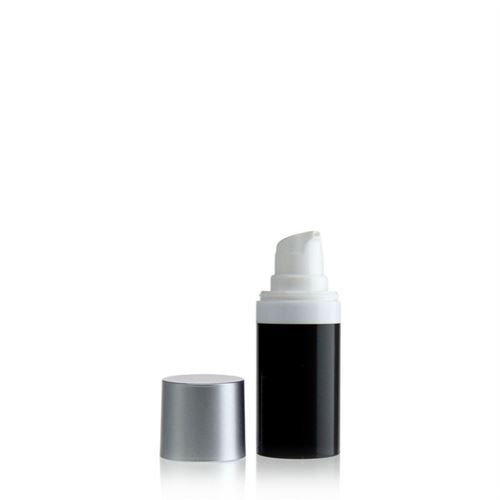 15ml airless pump MICRO black/silver cap